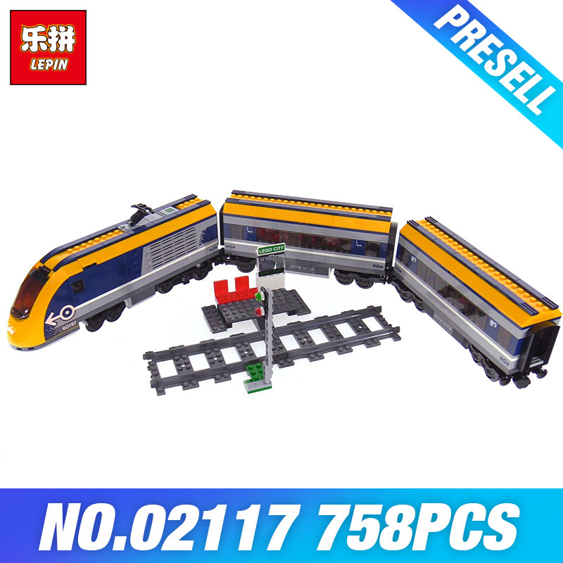 Lepin 02117 City Series The 60197 Toys Passenger Train Set Model Building Blocks Bricks Kits Toys for Kids DIY Christmas Gifts