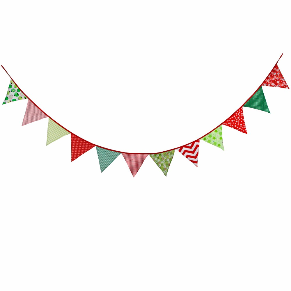 32M 12flags Christmas Decoration Rustic Bunting Burlap Banner Artificial Garland Xmas Fabric In Banners Streamers Confetti From Home Garden On