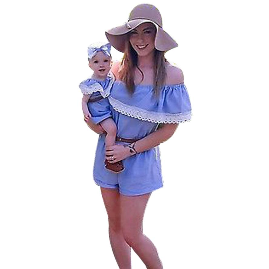 Family Clothes Mommy Me Women Off Shoulder Lace Jumpsuit Playsuit Belt Outfits rompers bianco pizzo maniche lunghe