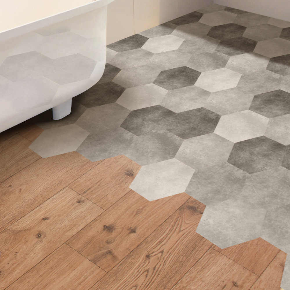 Funlife Gray Cement Tiles Floor Stickers Waterproof Decal Adhesive Pvc Anti Slip For Bathroom Decor Db075