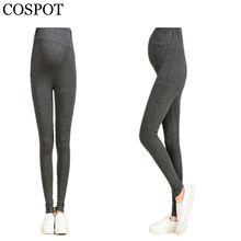 COSPOT Pregnant Woman Leggings Plain Color Black Gray Pants for Pregnancy Women Waist Abdominal Spring Cotton Trousers 2017 30F
