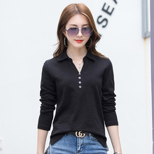 Women Long Sleeve Polo Shirts New Design Collar Slit Hem Cotton Material Button V-neck Drop Shipping