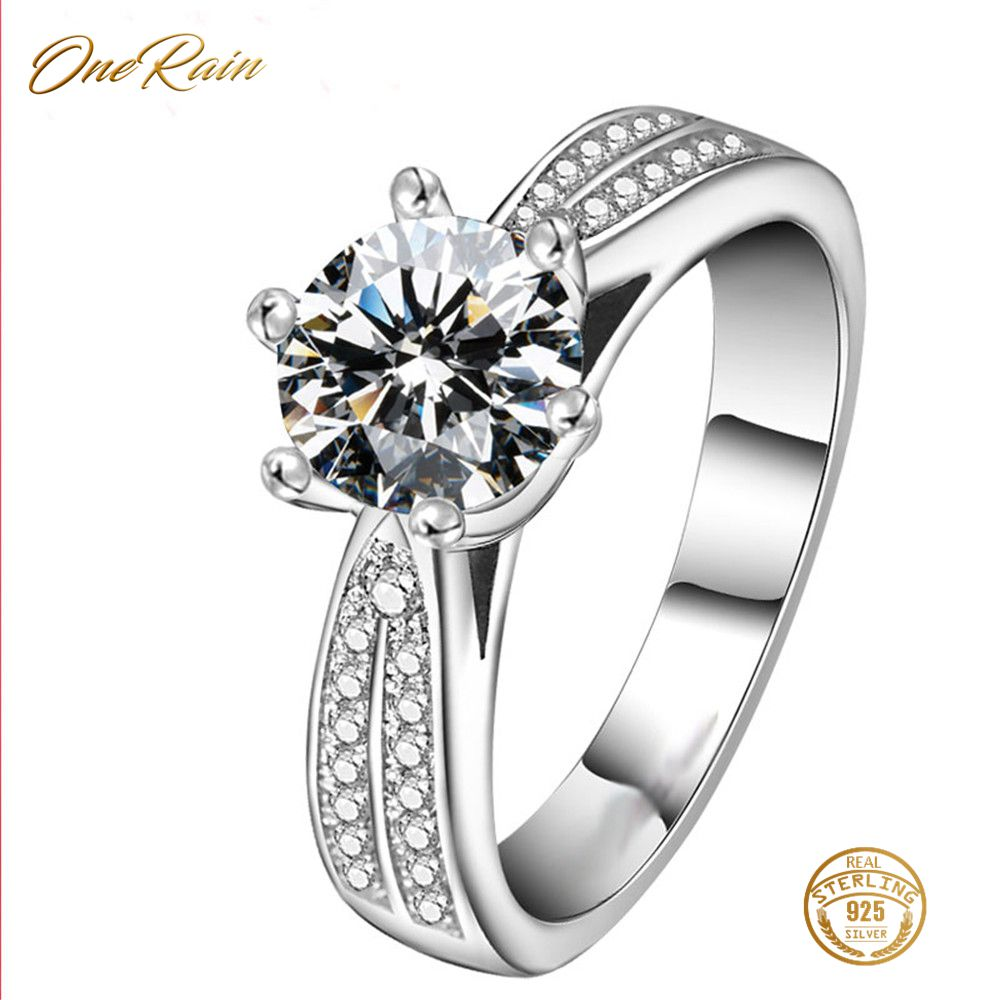 OneRain Luxury 100 925 Sterling Silver White Sapphire Cubic Zirconia Wedding Engagement Women Ring Jewelry Size