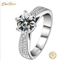 OneRain Luxury 100% 925 Sterling Silver White Sapphire Cubic Zirconia Wedding Engagement Women Ring Jewelry Size 6 7 8 9 10