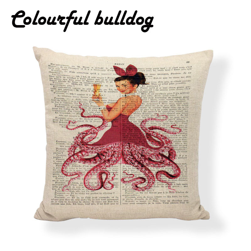 Printed Queen Cushion Covers Lip Retro Modern Girl Fundas De Almohadas  Outdoor 17.7inch Newspaper Bench