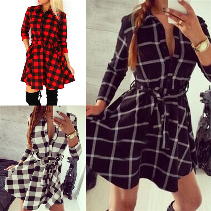 Casual Loose Mini Dresses Plaid Check Autumn Women Flannel Long Sleeve  Shirt Dress Lapel Collar Grid Dress-in Dresses from Women s Clothing on ... e83258d69