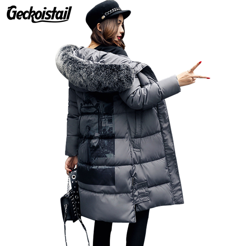 Geckoistail Winter Women Jacket Coat Fashion Fur Collar Hooded Parka Loose Plus Size Women Thick Cotton Jacket  Parkas Outerwear natural hot sale geranium robertianum extract 10 1 400g lot