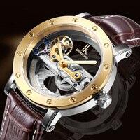 Элитный бренд IK раскраски золото полые автоматические деловые часы для мужчин кожаный ремешок повседневное Винтаж Скелет часы relogio
