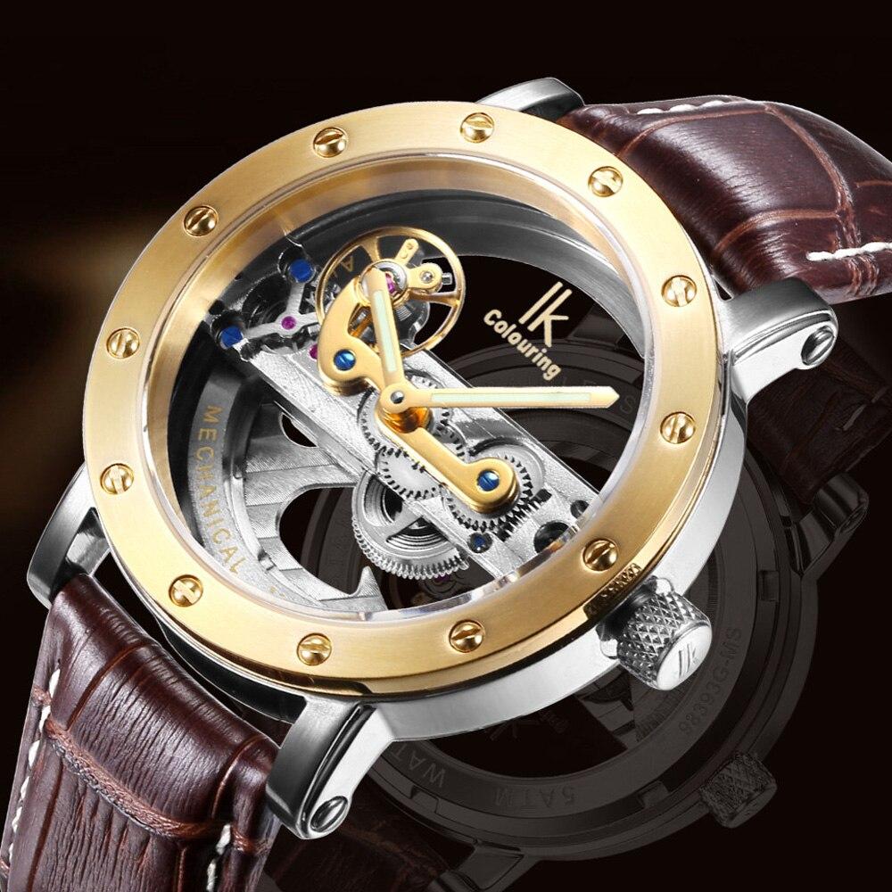 Marque de luxe IK coloriage Or Creux Automatique Mécanique Montres Hommes Bracelet En Cuir décontracté Montre Squelette Vintage Horloge relogio