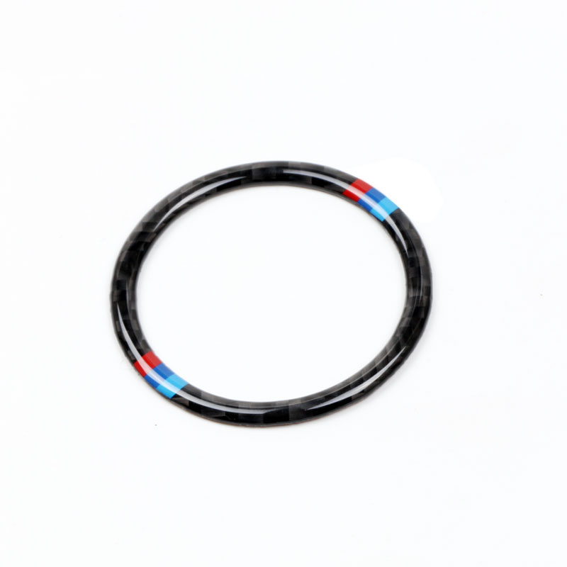 Egal Carbon Fiber M-Stripe Car Engine Start Stop Button Cover Trim Decor Decal for BMW 5 Series E60 2008-2010