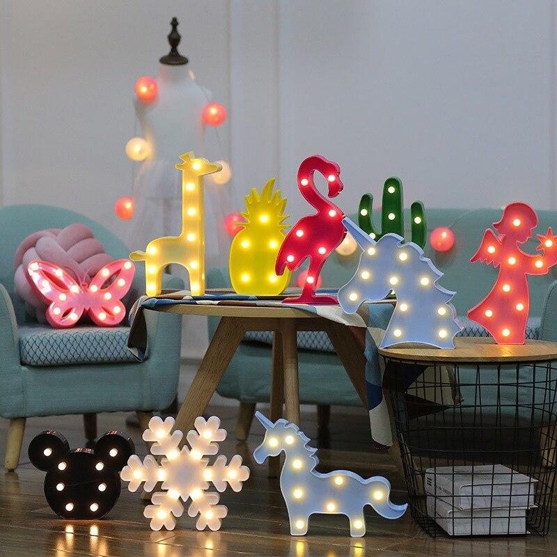 Lámpara LED navideña para el hogar, con flamenco, unicornio, piña, decoraciones para árboles de Navidad, luz para Baby Shower, decoración para fiestas para montar, B Nuevo letrero de neón, lámpara LED de noche, lámpara de mesa con flamenco, nube, arcoiris, piña, decoración para fiesta de Navidad, decoración en 3D para el hogar