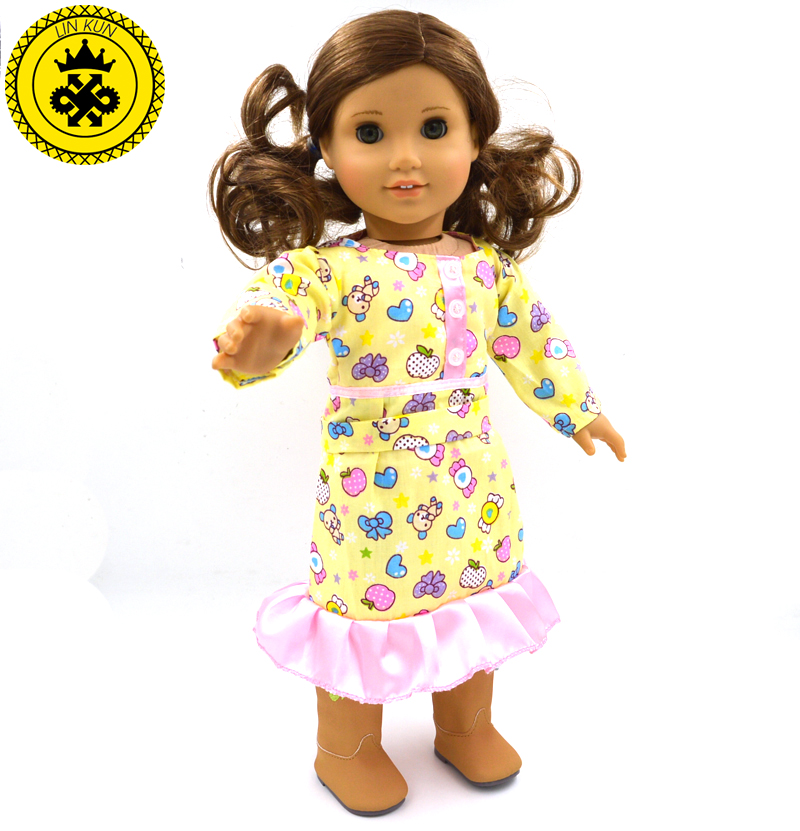 American Girl Doll Accessories Yellow Dress Baby Girl Gift Beautiful Doll Cute Clothes for 18 Inch Dolls MG-060