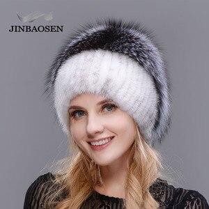 Image 2 - รัสเซียแฟชั่นMink Furหมวกผู้หญิงฤดูหนาวWarm Foxหมวกถักผู้หญิงใหม่ขนสัตว์ธรรมชาติและเจาะน้ำสกีหมวก