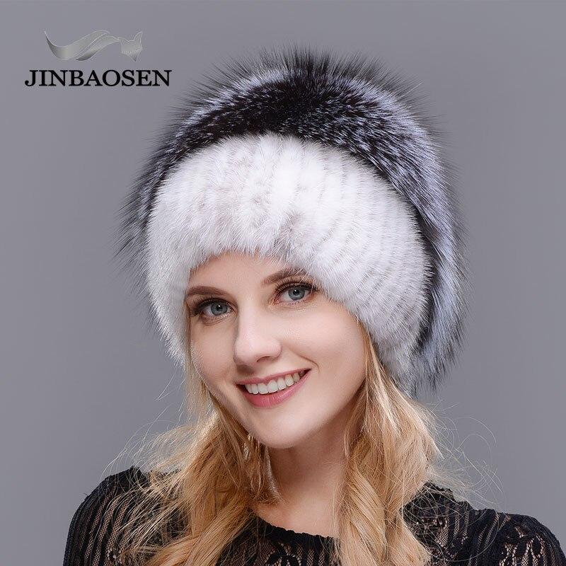 Russe à la mode de fourrure de vison renard chapeau femme hiver chaud renard tricoté chapeau femme 2018 nouveau fourrure naturelle et forage d'eau ski Chapeau