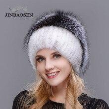 Russian fashionable mink fur fox hat woman winter warm fox knitted hat woman  new natural fur and water drill Ski Hat