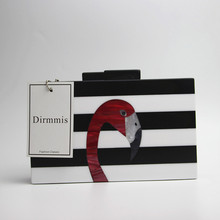 Black and White Striped Acrylic Flamingo Evening Bag