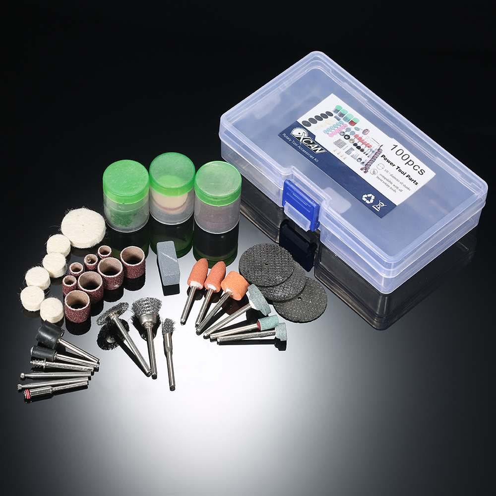 100pcs 1/8 Electric grinder tool dremel drill engraver Accessories Rotary Tool Set grinding machine Polishing Bit Accessory Kit maxman electric angle grinder polisher grinding power tool dremel tool polishing machine for grinding of woodworking
