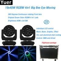 2 шт./лот кофр 19x40 Вт RGBW 4in1 moving head светильник размытого света с зум DMX графический эффект Вечерние Партии Бар Диско dj этап