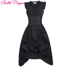 Belle Poque Medieval Dress 2017 Cotton Sleeveless V Neck Lace Up Corset Ruffle Gowns Victorian Gothic Steampunk Vintage Dresses