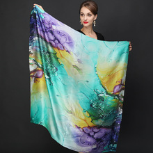 high quality 100% real silk satin Scarf Shawl wrap women fem