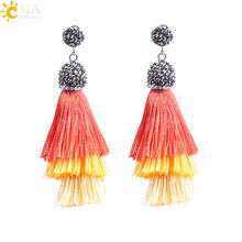 CSJA Bohemian Pom Pom Stud Earrings for Women Girls Tassel Earring 3 Layer Mix Color Silk Fringed Rhinestone Korean Jewelry F174(China)
