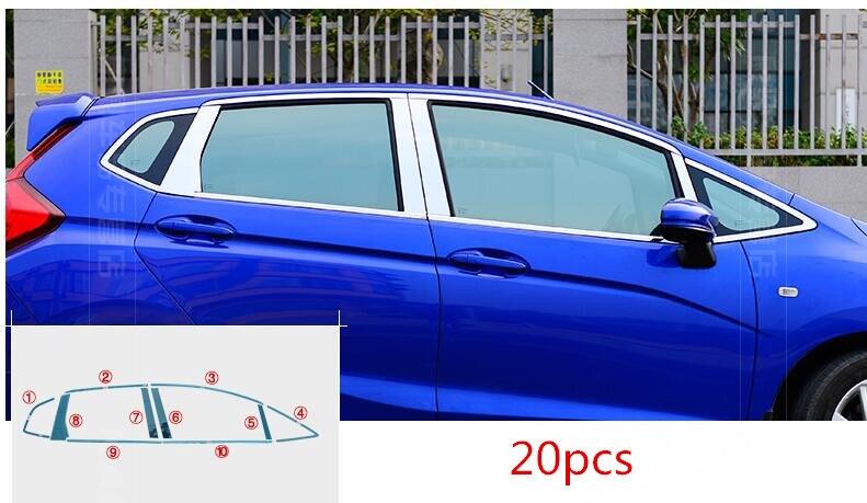 For Honda Fit jazz 2014 2015 2016 2017 car body stick stainless steel glass window garnish pillar middle column strip trim hood