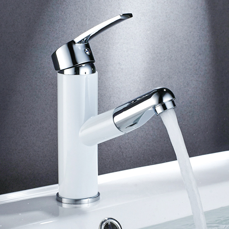 Kitchen Faucets Pull Out Kitchen Faucet Copper Drawing Basin Single Handle Sink Mixer Tap Swivel Spout Sink Faucet