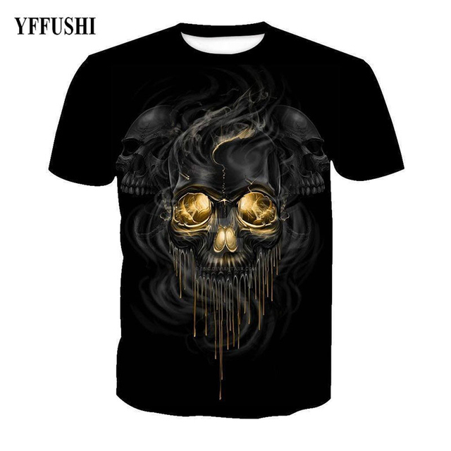 YFFUSHI Fashion Brand Male 3d t shirt men Unique Skull Soul Print Hip Hot Tees Cool Men Fitness 3d T shirt Black O-Neck T shirt