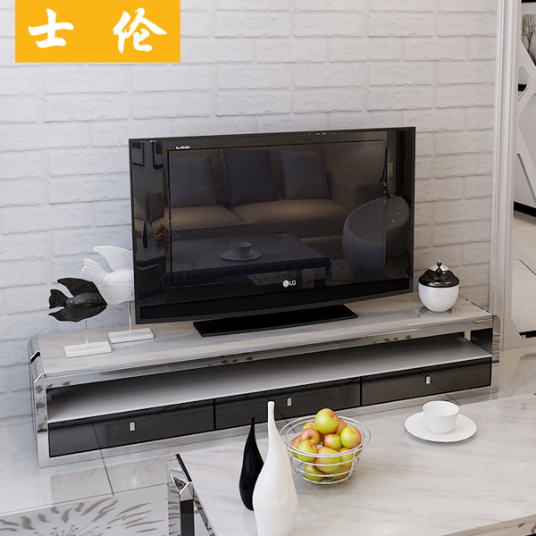 Lomb TV Cabinet TV Cabinet Minimalist Stainless Steel Marble Glass TV  Cabinet Paint Cabinet