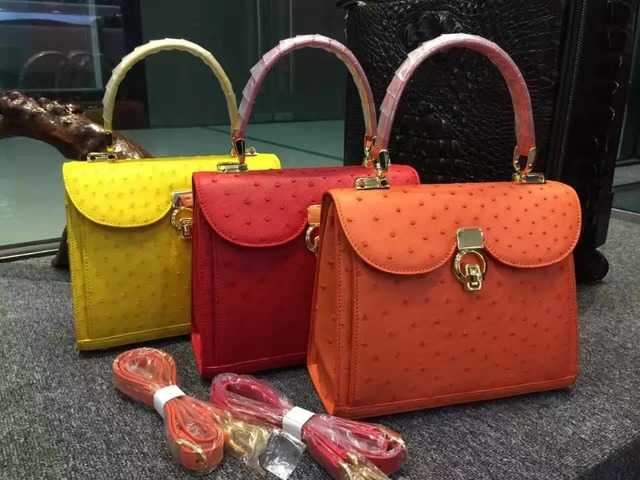 100 Genuine Ostrich Leather Skin Women Tote Bag Famous High End Quality Handbag Yellow And