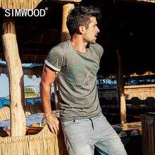 Simwood Лето 2017 г. новая футболка мужчин 100% хлопок белый горошек Забавный Плюс Размеры повседневные Модные топы брендовая одежда TD017088