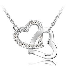 JS N024 Colar Double Heart Jewerly Colares de Moda Para As Mulheres 2014 Presentes do Dia de Boxe Colares Femininos Bonito Joias(China)