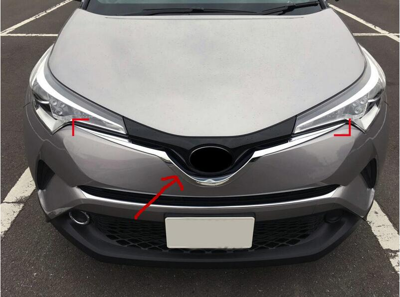 ABS Chrome Exterior Central Grill Grille U Shape Moulding Cover Trims 1PC For Toyota C-HR C HR 2016 2017 car accessories