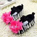 En stock! las muchachas del bebé cebra zapatos, vestido de la flor primer caminante del bebé zapatos niño calzado infantil 6 par/lote
