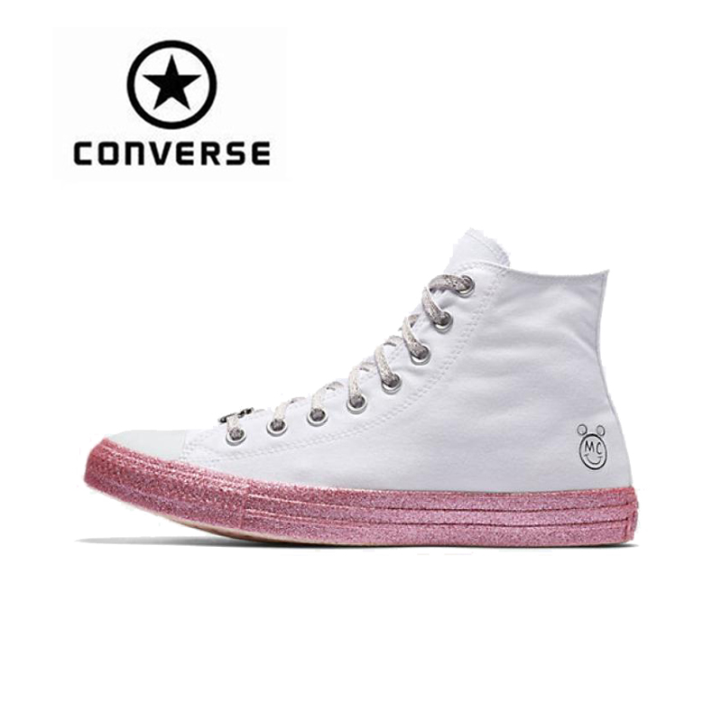 Converse x Miley Cyrus All Star Skateboarding Shoes Sneakers Classic Women Canvas High Top Anti-Slippery Female Outdoor Sports new converse chuck taylor all star ii low men women s sneakers canvas shoes classic pure color skateboarding shoes 150149c