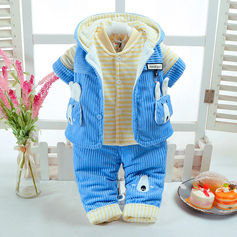 Autumn Winter Baby Boy Clothing Set Cute Rabbit Style Add Cotton Padded Thick Corduroy Pants Warm 0 6M Newborn Infant 3Pcs/Set