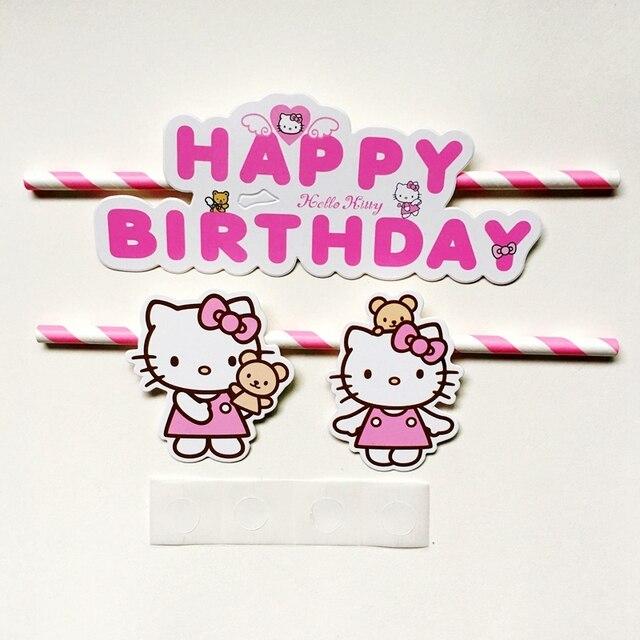 30 Satze Rosa Hallo Kitty Happy Birthday Cupcake Kuchen Topper Fahnen Kinder Geburtstagsparty Backen Hochzeit Dekoration