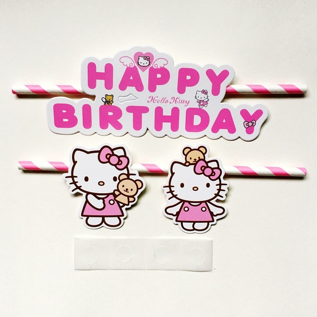 30 sets pink hello kitty happy birthday cupcake cake topper flags