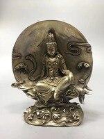 Китайский резной белый Медная скульптура Гуаньинь удобные