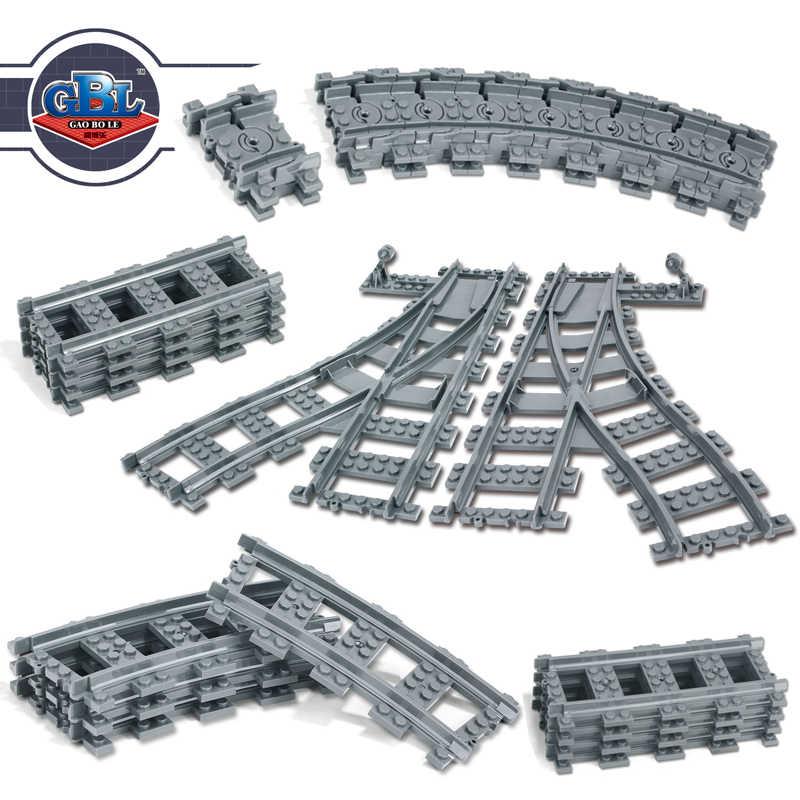 Ausini Flexible ville Compatible legoed Trains Rail voie ferroviaire modèle ensembles fourchus droite courbe blocs de construction brique jouet