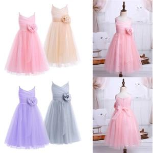 Image 2 - 2020 Girls Pleated Tulle Mesh Spaghetti Shoulder Straps Flower Girl Dress Princess Pageant Birthday Wedding Party Dress SZ 2 12