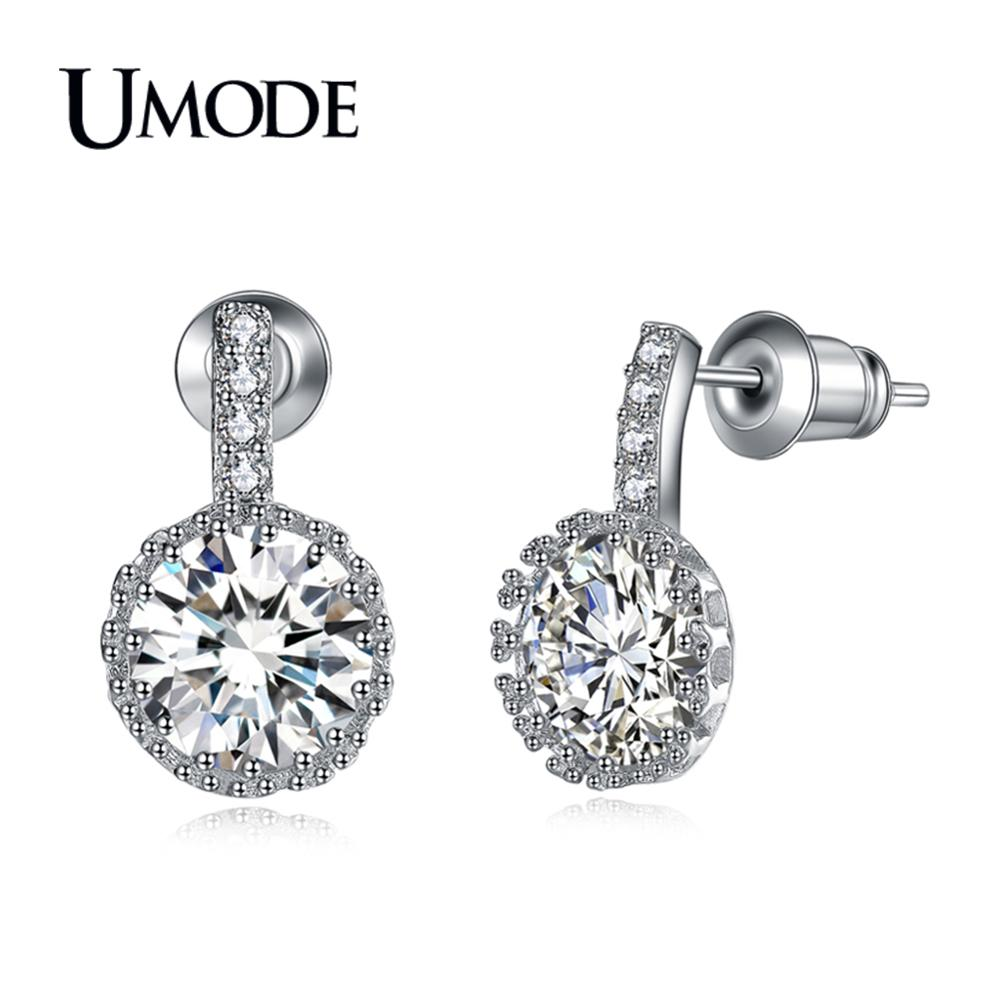 UMODE 2019 New Fashion Round CZ Crystal Stud Earrings for Women White Gold Wedding Jewelry Brincos Bijoux Mujer Moda AUE0102