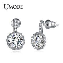 UMODE 2019 New Fashion Round CZ Crystal Stud Earrings for Women White Gold Wedding Jewelry Brincos Bijoux Mujer Moda AUE0102