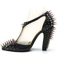 Модные женские босоножки с t-образным ремешком для подиума, шипованные туфли-лодочки на массивном каблуке, пикантные вечерние модельные туф...