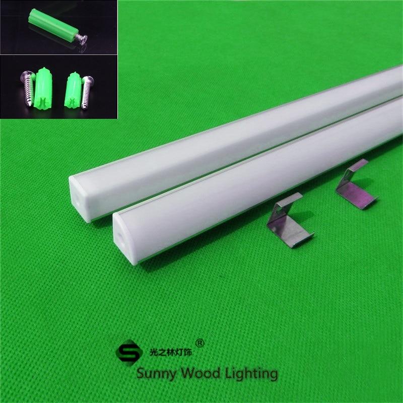 2-20 pcs/lot 0.5 m/pc 45 degrés coin profil en aluminium pour 5050 5630 led bande, laiteux/transparent couverture pour 12mm pcb avec des raccords