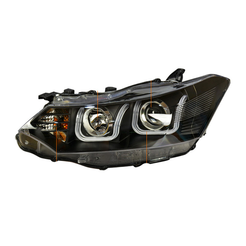 2pcs Brand New LED Double-U Sharp DRLs Bar HID Bi-Xenon Projector Len Original Replacement Headlight For Toyota Vios 2014-2016 zipower pm 5147