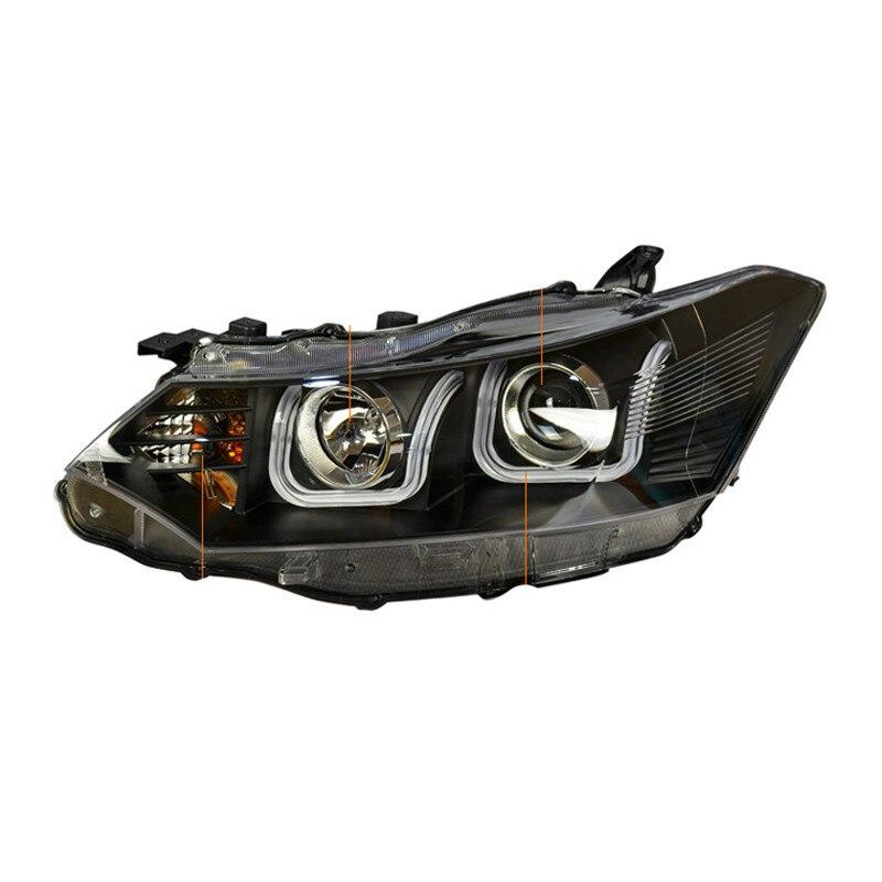 Ownsun 2шт LED двойной U-острый ДХО бар спрятанный би-ксенон проектор Лен Оригинальная замена фар для Тойота vios 2014-2016