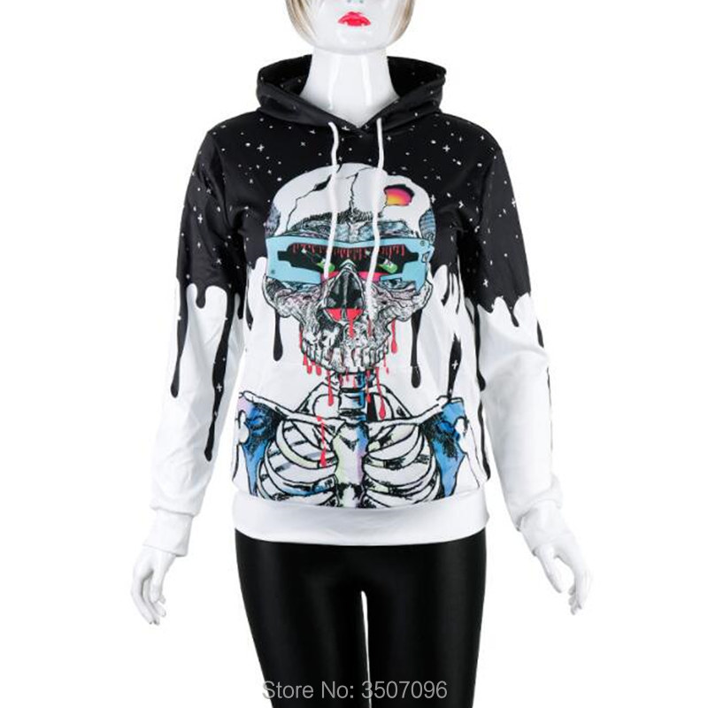 Newest 3D Print Xmas Halloween Skull Pumpkin Alien Pullover Hoodies for Women Unisex Causal Loose Plus Size Sweatshirts Femme