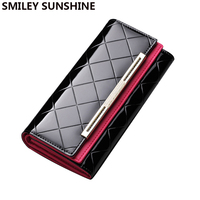 Luxury Patent Leather Wallet and Purses Fashion Ladies Wallet Big Long Women Leather Wallets 2017 Female Clutch Purses Money Bag