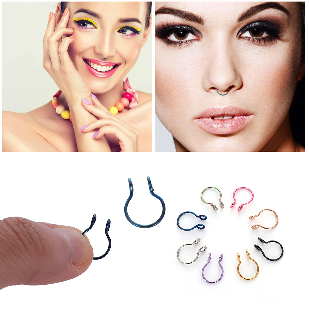8 Colors Available Fake Hypoallergenic Faux Septum Ring Hoop Fake